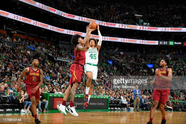 Romeo Langford of the Boston Celtics shoots the ball against the Cleveland Cavaliers during a preseason game on October 13 2019 at the TD Garden in...