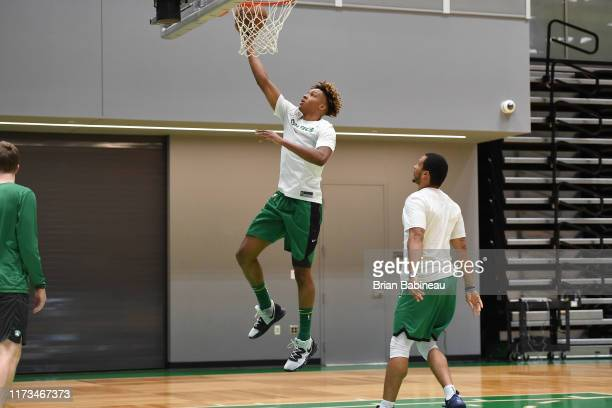 Romeo Langford of the Boston Celtics shoots the ball during practice on October 3 2019 at the Auerbach Center in Brighton Massachusetts NOTE TO USER...