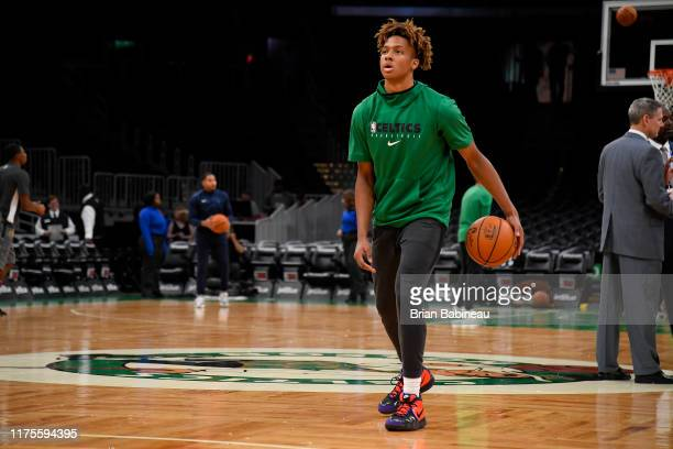 Romeo Langford of the Boston Celtics warms up against the Cleveland Cavaliers before a preseason game on October 13 2019 at the TD Garden in Boston...