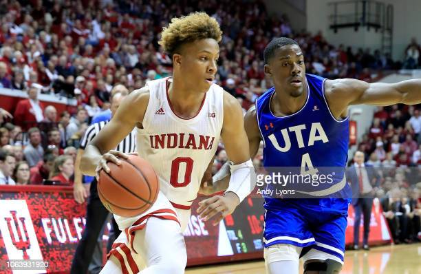 Romeo Langford of the Indiana Hoosiers dribbles the ball against the UT Arlington Mavericks at Assembly Hall on November 20 2018 in Bloomington...
