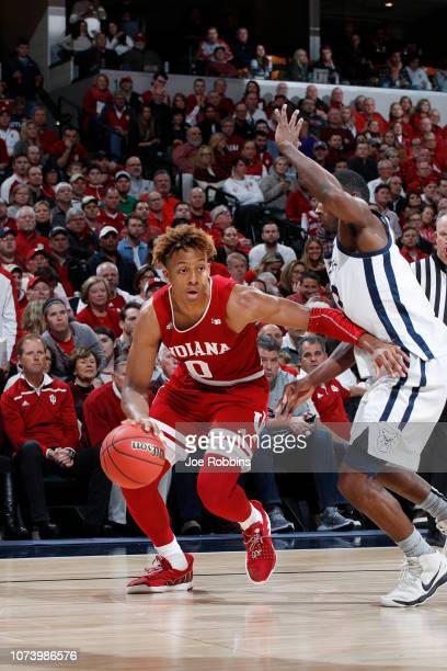 Romeo Langford of the Indiana Hoosiers drives to the basket against the Butler Bulldogs in the second half of the Crossroads Classic at Bankers Life...