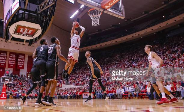 Romeo Langford of the Indiana Hoosiers goes up for a dunk during the game against the Central Arkansas Bears at Assembly Hall on December 19 2018 in...