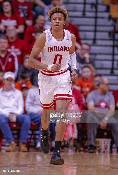 Romeo Langford of the Indiana Hoosiers is seen during the game against the Central Arkansas Bears at Assembly Hall on December 19 2018 in Bloomington...