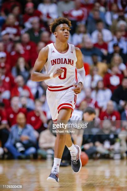 Romeo Langford of the Indiana Hoosiers is seen during the game against the Wisconsin Badgers at Assembly Hall on February 26 2019 in Bloomington...