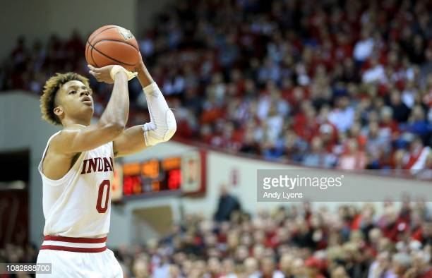 Romeo Langford of the Indiana Hoosiers prepares to shoot a free throw against the Nebraska Cornhuskers at Assembly Hall on January 14 2019 in...