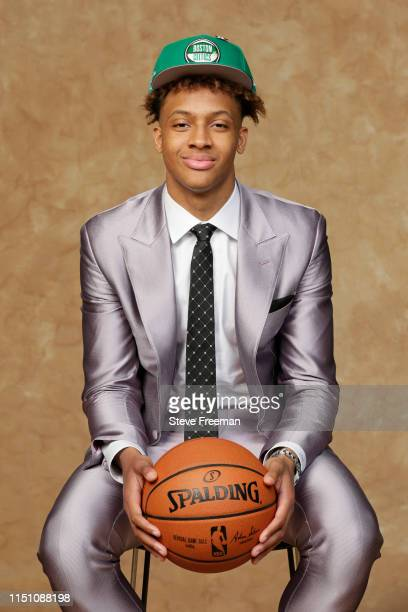 Romeo Langford poses for a portrait after being drafted by the Boston Celtics at the 2019 NBA Draft on June 20 2019 at Barclays Center in Brooklyn...