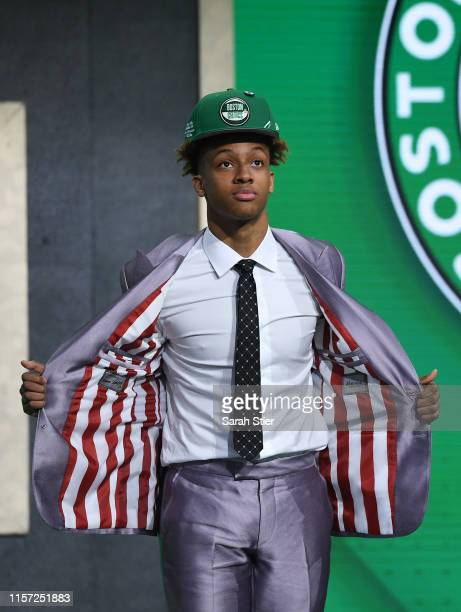 Romeo Langford reacts after being drafted with the 14th overall pick by the Boston Celtics during the 2019 NBA Draft at the Barclays Center on June...