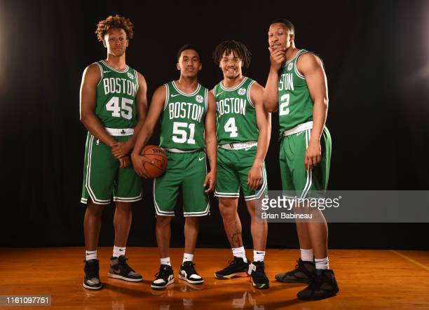Romeo Langford, Tremont Waters, Carsen Edwards, and Grant Williams of the Boston Celtics poses for a portrait during the 2019 NBA Rookie Photo Shoot...