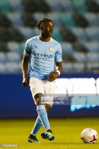 Romeo Lavia of Manchester City controls the ball during the Premier League 2 match against Manchester United at Manchester City Football Academy on...
