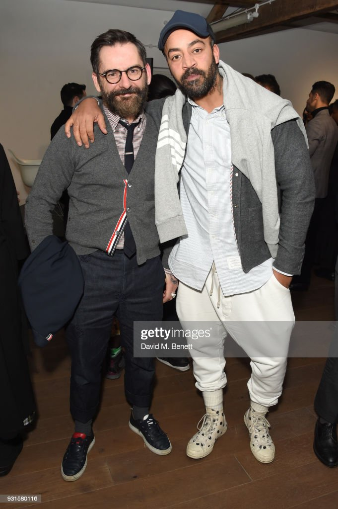 Romeo Milicevic (L) and Paul Murashe attend Thom Browne In Conversation with Sarabande: The Lee Alexander McQueen Foundation on March 13, 2018 in London, England.