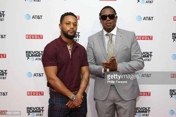 Romeo Miller and Master P attend the REVOLT X AT&T 3-Day Summit In Los Angeles - Day 2 at Magic Box on October 26, 2019 in Los Angeles, California.