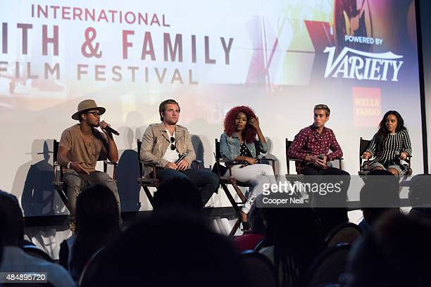 Romeo Miller Luke Benward Porscha Coleman Austin North and Angela Simmons speak during the MegaFest Millennial Panel at The Omni Hotel Texas on...