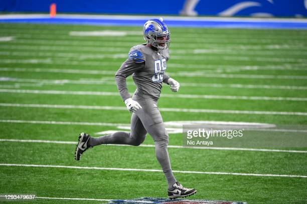 Romeo Okwara of the Detroit Lions runs off the field in the fourth quarter of the game against the Tampa Bay Buccaneers at Ford Field on December 26,...
