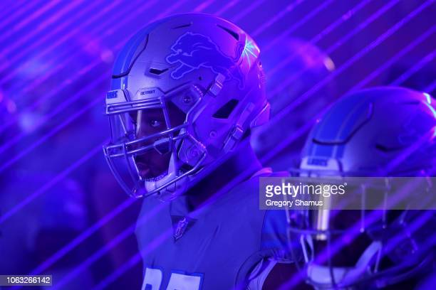 Romeo Okwara of the Detroit Lions waits in the tunnel with teammates prior to the start of the game against the Carolina Panthers at Ford Field on...