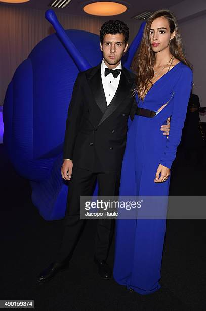 Romeo Ruffini and Allegra Benini attend amfAR Milano 2015 at La Permanente on September 26 2015 in Milan Italy