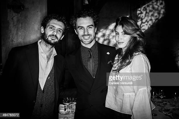 Romeo Ruffini Giacomo Passi and Allegra Benini attend Muse The Travel Issue Dinner at Segheria Di Carlo E Camilla on October 28 2015 in Milan Italy