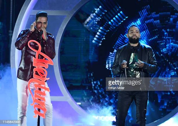 Romeo Santos and Henry Santos of Aventura perform during the 2019 Billboard Latin Music Awards at the Mandalay Bay Events Center on April 25 2019 in...