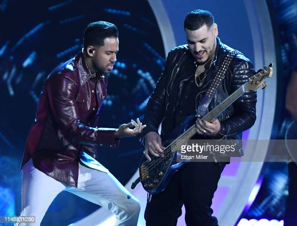Romeo Santos and Max Santos of Aventura perform during the 2019 Billboard Latin Music Awards at the Mandalay Bay Events Center on April 25 2019 in...