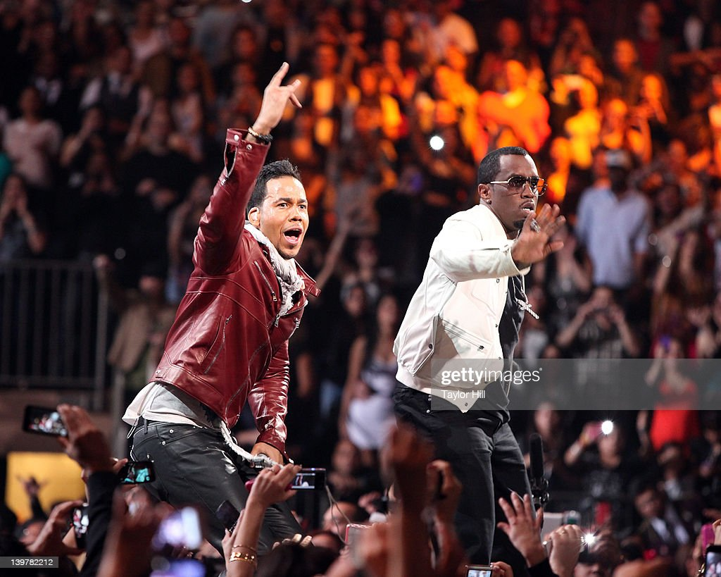 Romeo Santos and Sean 'Diddy' Combs perform at Madison Square Garden on February 24, 2012 in New York City.