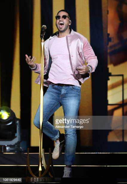 Romeo Santos is seen performing on stage at the AmericanAirlines Arena on October 11 2018 in Miami Florida