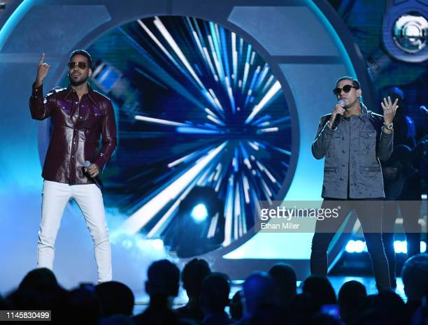 Romeo Santos of Aventura and Raulin Rodriguez perform during the 2019 Billboard Latin Music Awards at the Mandalay Bay Events Center on April 25 2019...