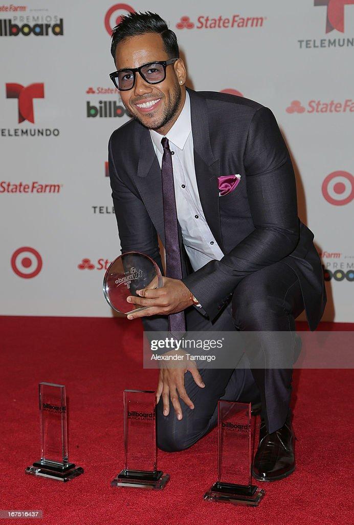 Romeo Santos poses backstage at Billboard Latin Music Awards 2013 at Bank United Center on April 25, 2013 in Miami, Florida.