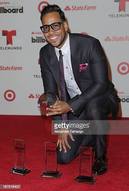 Romeo Santos poses backstage at Billboard Latin Music Awards 2013 at Bank United Center on April 25 2013 in Miami Florida