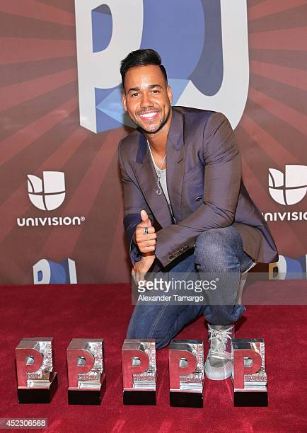 Romeo Santos poses in the press room during the Premios Juventud 2014 at The BankUnited Center on July 17 2014 in Coral Gables Florida