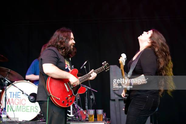 Romeo Stodart and Michele Stodart of Magic Numbers perform on stage on the first day of Cornbury Festival on July 11 2009 near Charlbury United...