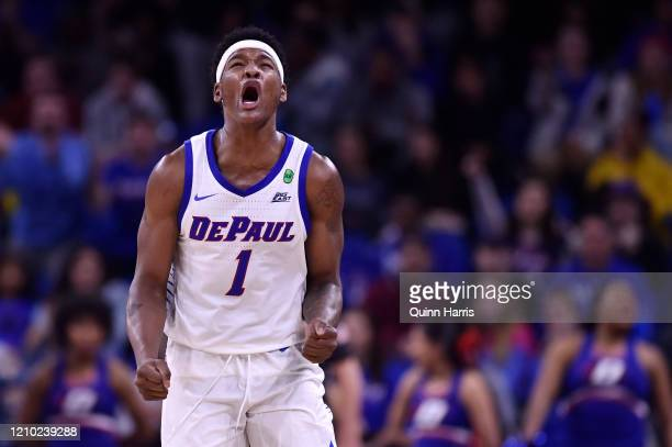 Romeo Weems of the DePaul Blue Demons reacts after scoring against the Marquette Golden Eagles at Wintrust Arena on March 03, 2020 in Chicago,...