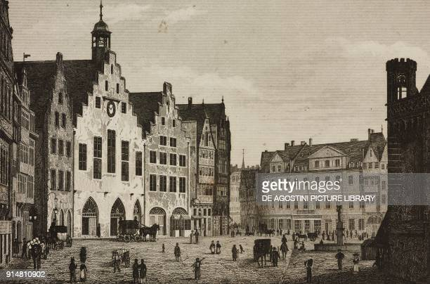 Romer city hall of Frankfurt am Main Germany engraving by Lemaitre and Huguener from Allemagne by Philippe Le Bas L'Univers pittoresque Europe...