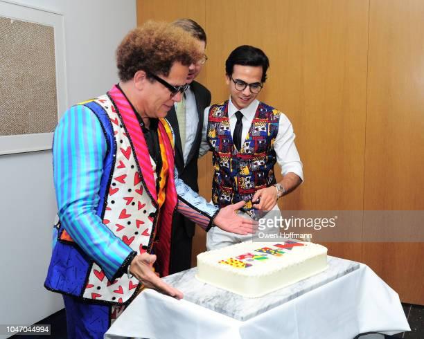 Romero Britto Howard Warren Buffett and Dr Lucas Vidal attends Birthday Of Romero Britto Madeleine Arison Howard Buffett And Dr Lucas Vidal at The...