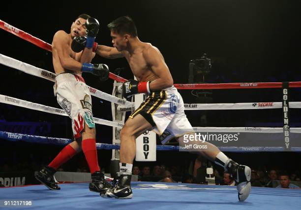 Romero Duno of the Philippines lands a right hand to the head of Yardley Armenta during their lightweight bout at The Forum on January 27 2018 in...