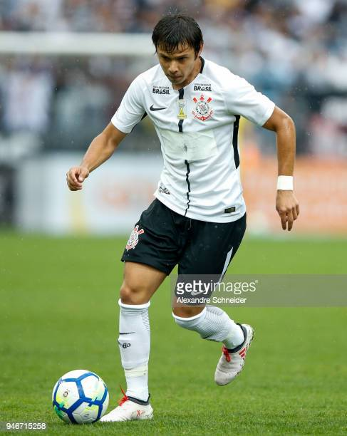 Romero of Corinthinas in action during the match against Fluminense for the Brasileirao Series A 2018 at Arena Corinthians Stadium on April 15 2018...