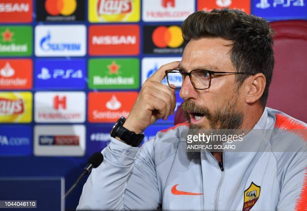 AS Rome's Italian coach Eusebio Di Francesco gestures as he speaks during a press conference on the eve of the UEFA Champions League group G football...