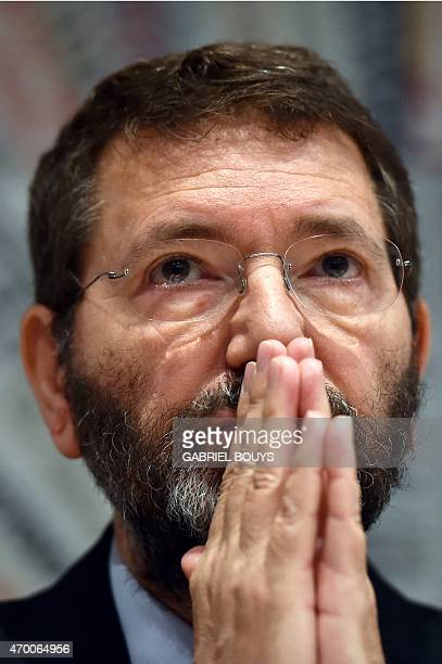 Rome's mayor Ignazio Marino attends a press conference at the Foreign Press Club in Rome on April 17 2015 The press conference presented the new...