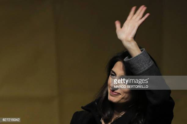 Rome's mayor Virginia Raggi attends a campaign meeting of the Five Star Movement upon a referendum on constitutional reforms, on December 2, 2016 in...