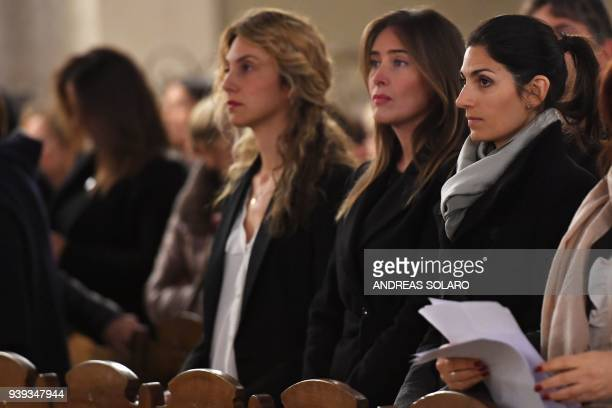 Rome's Mayor Virginia Raggi attends a service for Mireille Knoll during a ceremony in her memory to condemning the alleged antisemitic motive for of...
