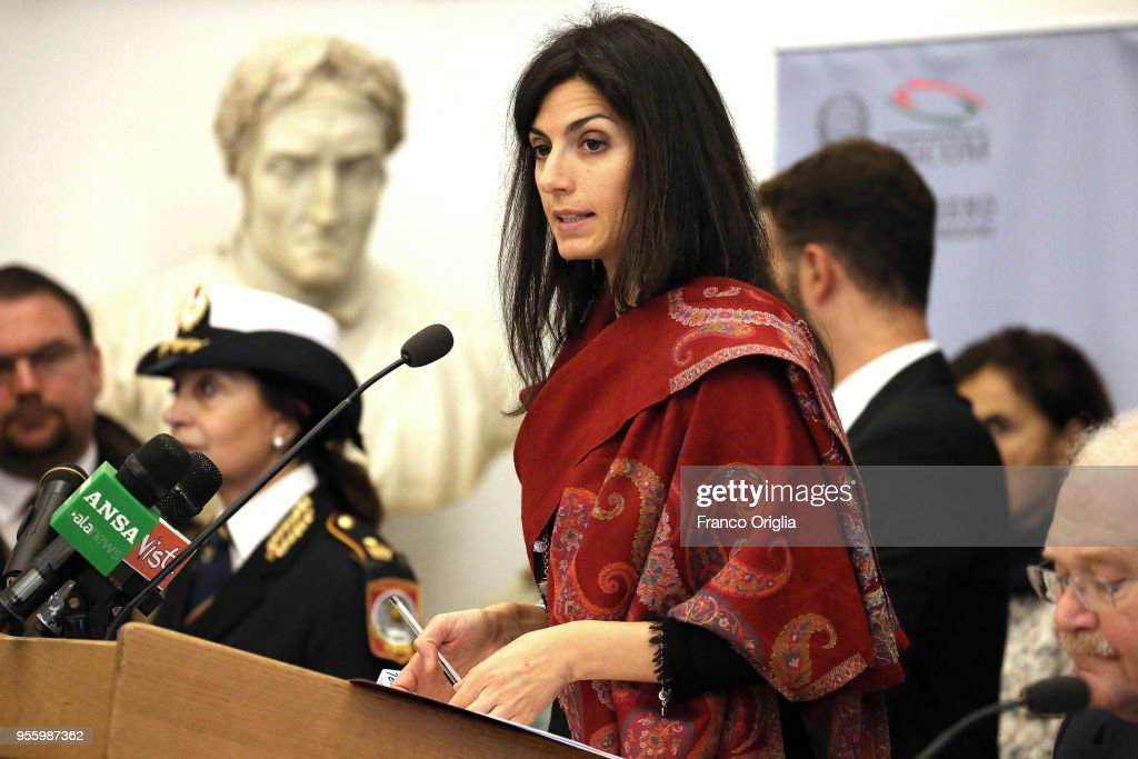 Rome's mayor Virginia Raggi attends the World Press Freedom Day 2018 at the Protomoteca Hall for on May 8, 2018 in Rome, Italy.