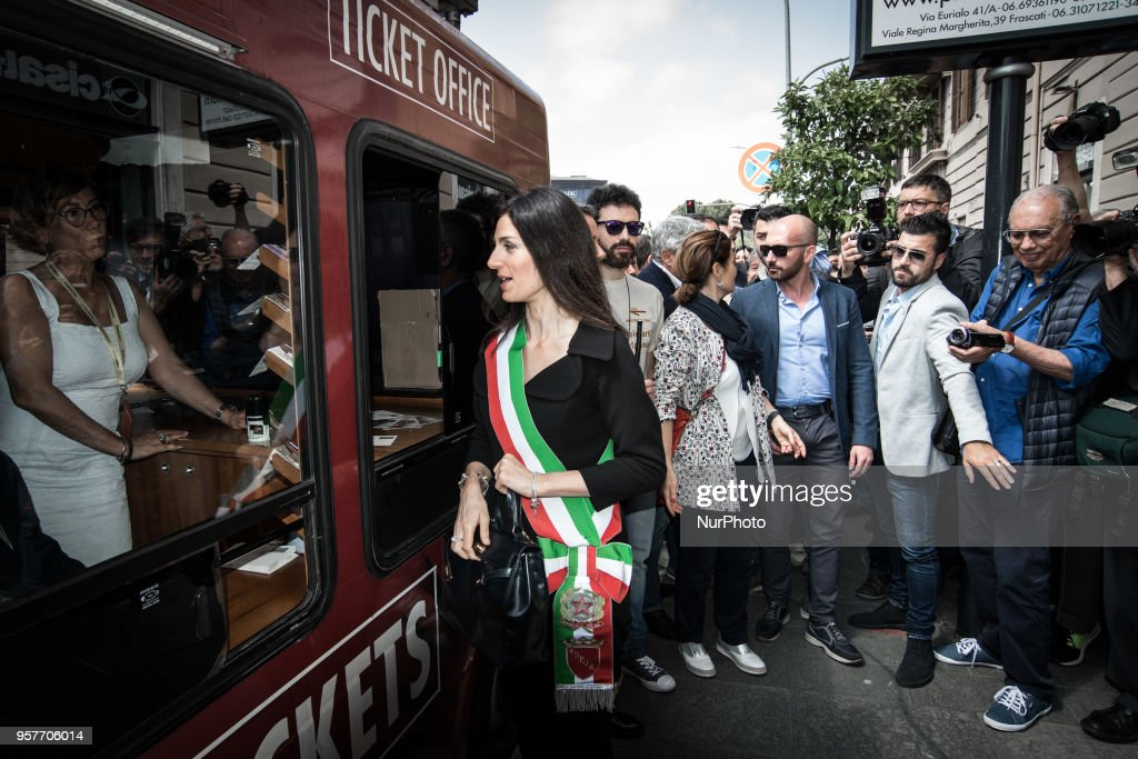 Rome's mayor Virginia Raggi enters the new subway station 'San Giovanni' part of the Line C of subway on May 12, 2018 during it's opening to the public in Rome.