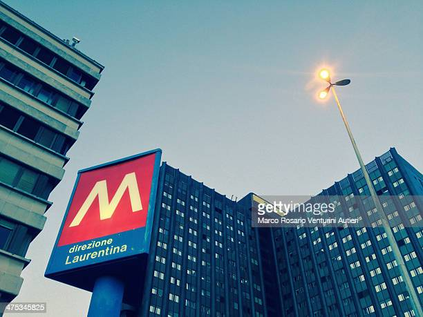 rome's metro sign - underground sign stock pictures, royalty-free photos & images