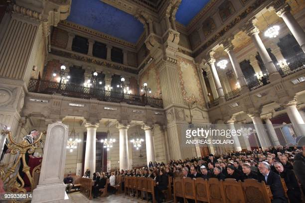Rome's Rabbi Riccardo Di Segni conducts a service for Mireille Knoll during a ceremony in her memory to condemning the alleged antisemitic motive for...