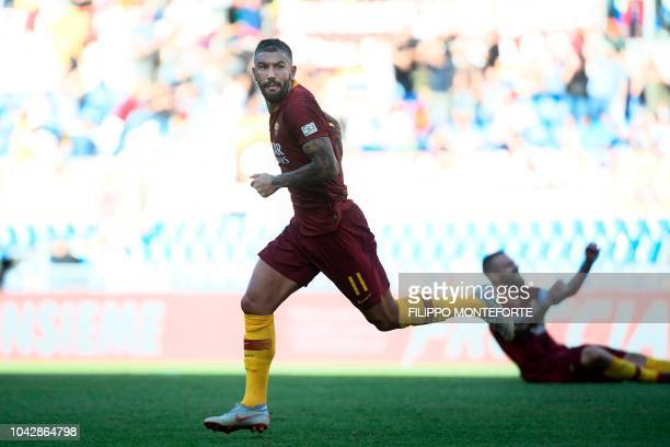 AS Rome's Serbian defender Aleksandar Kolarov celebrates after scoring his team's second goal during the Italian Serie A football match AS Rome vs...