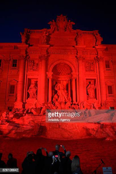 Rome's Trevi Fountain is illuminated in red in recognition of Christians who have been persecuted and have died for their faith, in an initiative...