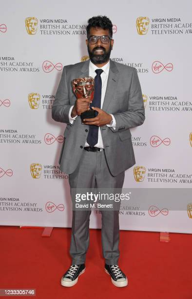 """Romesh Ranganathan, winner of the Best Entertainment Performance award for """"The Ranganation"""", poses in the Winners Room at the Virgin Media British..."""