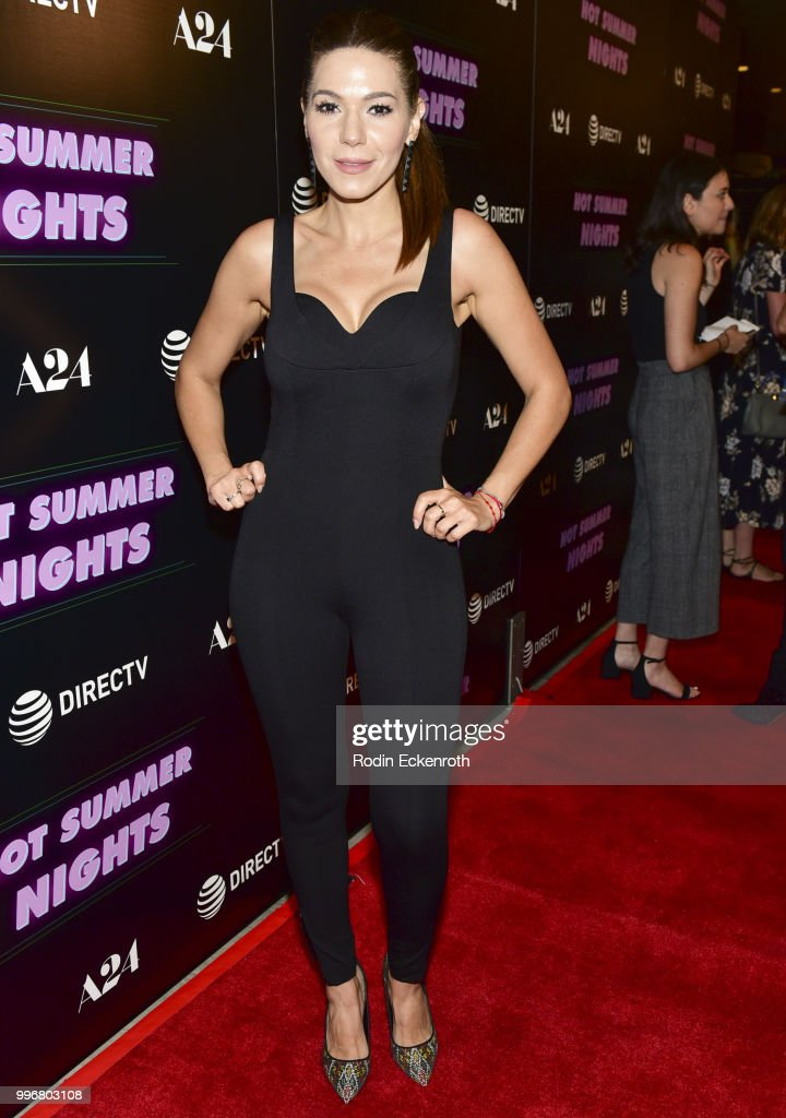 Romina Laino arrives at the screening of A24's 'Hot Summer Nights' at Pacific Theatres at The Grove on July 11, 2018 in Los Angeles, California.