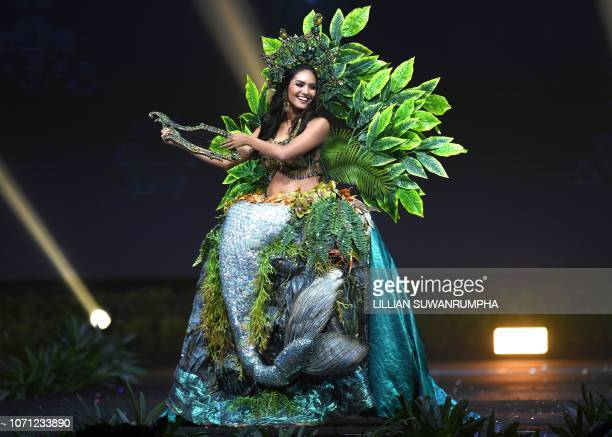 Romina Lozano Miss Peru 2018 poses on stage during the 2018 Miss Universe national costume presentation in Chonburi province on December 10 2018