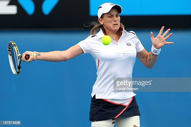 Romina Oprandi of Italy plays a forehand in her third round match against Julia Goerges of Germany during day five of the 2012 Australian Open at...