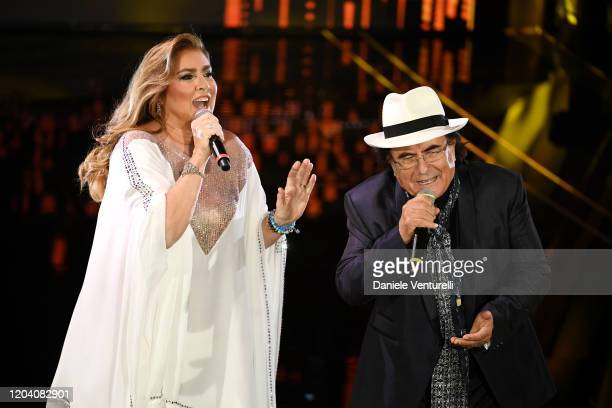 Romina Power and Albano Carrisi attend the 70° Festival di Sanremo at Teatro Ariston on February 04 2020 in Sanremo Italy
