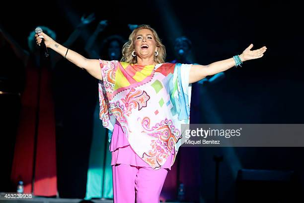 Romina Power performs on stage her last show 'AL BANO in concert special guest ROMINA POWER' during the Festival Castell Peralada on August 5 2014 in...